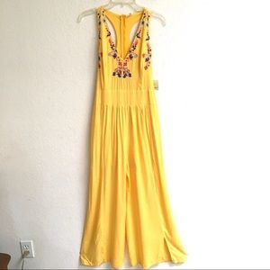 NWT Angela Fashion yellow embroidered jumpsuit S
